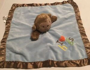 Carter's Just One You Monkey Lovey Rattle I Love Hugs Blue Baby Security Blanket