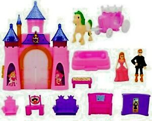 Pink Princess Musical Castle Play Set Light Music Girls Toy with Doll Toys