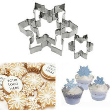 3pcs Snowflake Cookie Cutter Stainless Steel Snow Cake Pastry Mold Mould