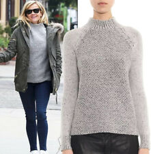 VINCE. Wool Silk Cashmere Grey Seed Stitch Mock Neck Sweater Size Medium M