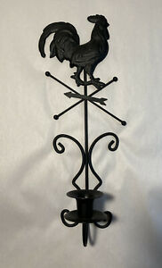 "Black Matte Metal Wall Candle Scone-Rooster,Weathervane 15"" Tall X 5"" Wide"