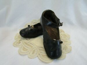 Victorian Antique Child Leather Mary Jane Side Strap Button Accent Black Shoes