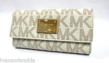 Michael Kors * Jet Set Logo Continental Checkbook Wallet Vanilla COD MOM17