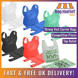 Coloured Plastic Carrier Bags  Blue/White/Black/Green/Red   Shopping/Supermarket