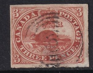 Canada Colony 1852 QV  3d deep Red -Used SG6 cat £275