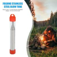 Outdoor Folding Stainless Steel Blow Fire Tube Retractable Blowpipes (Red)