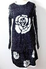 Ladies Womens Tinsel Black Knitted Dress Crew Neck Jumper Long Sleeve Stretch