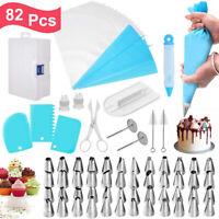 82Pcs Cake Baking Decorating Kit Set Piping Tips Pastry Icing Bag Nozzles DIY US