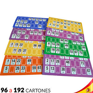 96 a 192 CARTONES para BINGO LOTTO MANUAL varios COLORES JUEGO FAMILIAR DE MESA