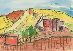 Danyk D'Arsonval - Three 20th Century Pen and Ink Drawings, Vibrant Landscapes