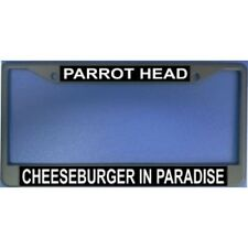 parrot head cheeseburger in paradise chrome license plate frame usa made