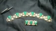 Bracelet and Pin Set Stone Faces Antique Vintage Taxco Mexico Silver 925