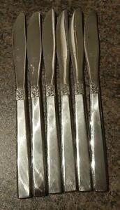 6 Oneida Melissa Table - Dinner Knives  Stainless Steel  22cm long