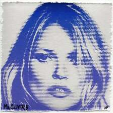 MR CLEVER ART KATE MOSS BLUE METALLIC LINES street art deco urban pop art print