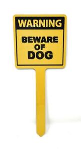 """Aluminum BEWARE of DOG 10"""" x 4"""" One Leg Yard Sign for Lawn"""