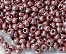 6/0 Czech Luster Brown Glass Seed Beads 10-Grams Opaque