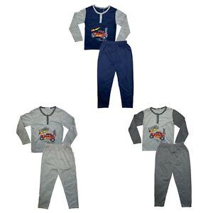 Boys Kids Pyjamas Long Sleeve Top Bottom Set Nightwear PJs Off-road Car Cotton