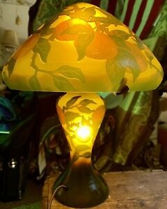 Emile Galle Orange Art Glass Lamp, Orange and Brown, Double Lighted