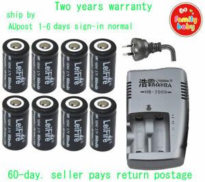 8 PCS Camera Rechargeable Battery CR123a RCR123a 16340 3.7v 650mAh+Dual Charger
