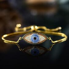 Sevil 18K Gold Plated Evil Eye Adjustable Bracelet With Swarovski Elements