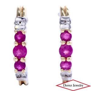 Estate Diamond Ruby 10K Gold Half Hoop Earrings NR