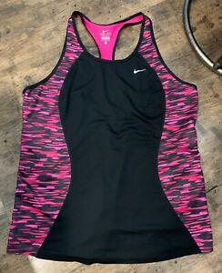 Nike Dri-Fit sz XL sleeveless Pink Black camouflage racer back workout tank top
