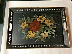 AUTHENTIC Vtg Toleware Metal Tray Large Black Hand Painted Floral W/ Handles