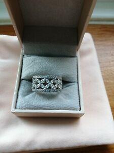Diamonique Silver Tone Ring Size M