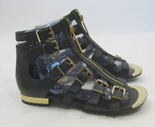 "Summer NEW black/gold sexy1""block heel WOMEN SHOES  sandal SIZE 6  p"