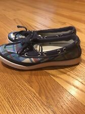 L L BEAN Brand New Sneakers Loafers BLUE PLAID Athletic Women Shoes Sz 6.5 #