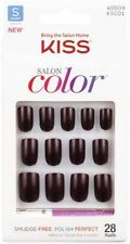 Kiss 28 Nails Salon Color Glue-on with Adhesive in Dark Burgundy or Pink