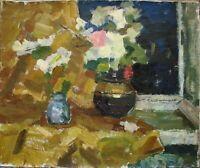 Russian Ukrainian Oil Painting Impressionism Still Life flowers window night