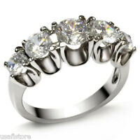 Five Clear Round Cut CZ Stones Silver Stainless Steel Ladies Ring New