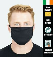 Reusable Adult Face Mask 100% Cotton Washable Breathable Face Covering - Black