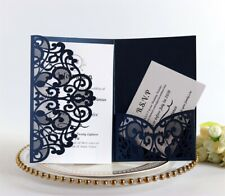 50X Tri-Fold Invitation Cards With Inner Cards Blue Laser Cut Lace Wedding Party
