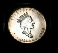 CANADIAN COINS 1996 Canada Silver Maple Leaf $5 1 Oz. BU UNC KEY Date Beauty