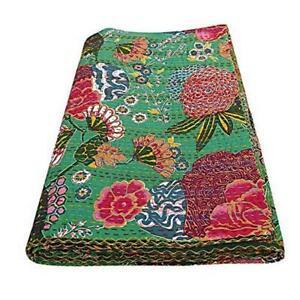 Handmade Kantha Bedspread Throw Fruit Print Hand Stitched Cotton Kantha Quilts B