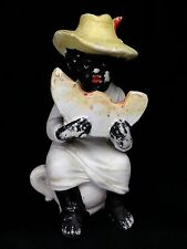 Antique German Bisque BLACK BOY EATING WATERMELON  Potty Figurine Piano Baby