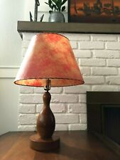 Vintage BOWLING PIN Table MID-CENTURY MODERN Lamp & FIBERGLASS SHADE Light RETRO