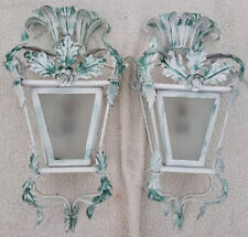 Pair Vtg Italian or French Tole Wall Sconces Painted Flowers floral regency