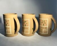 "Flowers Squares-3 Mugs-Hartstone Pottery USA-Zanesville, OH-""HB""-Excellent-12 oz"