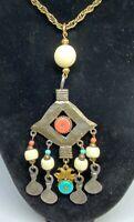 Vintage MODE ART ARTHUR PEPPER Eye Hanging Charm Czech Glass Tribal Necklace