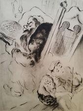 Gravure orig signée Issachar Ber Ryback Chagall Rabbin Judaica Violon Yiddish