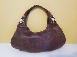 TOMMY BAHAMA leather seashells hobo shoulder bag purse Retail $250