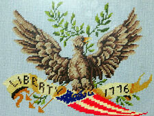 Liberty Patriotic Needlepoint 1776 VTG Dove Eagle AmericanaComplete Framed    IC