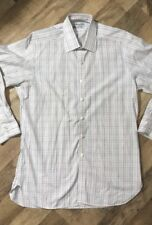Men's Turnbull & Asser Made In England Button Front Shirt White Plaid 16 12