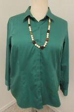 Green Coldwater Creek Sz 18 No-Iron Shirt/Blouse/Top Long Sleeves    529