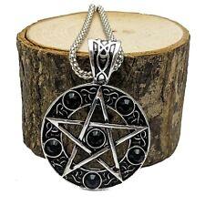 Silver Tone Pentacle Pentagram Pendant Necklace Black Crystal Stones