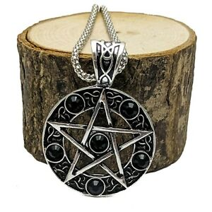 Silver Plated Pentacle Pentagram Pendant Necklace Black Crystal Stones