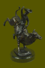 "RODEO"" Western Cowboy Bull Rider Bronze Metal Sculpture Statue Ar"
